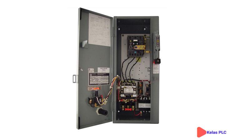 Starter-motor-kombinasi-dengan-pemutus-sirkuit,-sakelar-pemutus,-starter,-dan-transformator-kontrol.